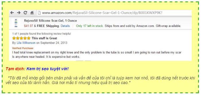 Sản phẩm được bán trên website Amazon.com và được khách hàng ở Mỹ đánh giá cao về hiệu quả