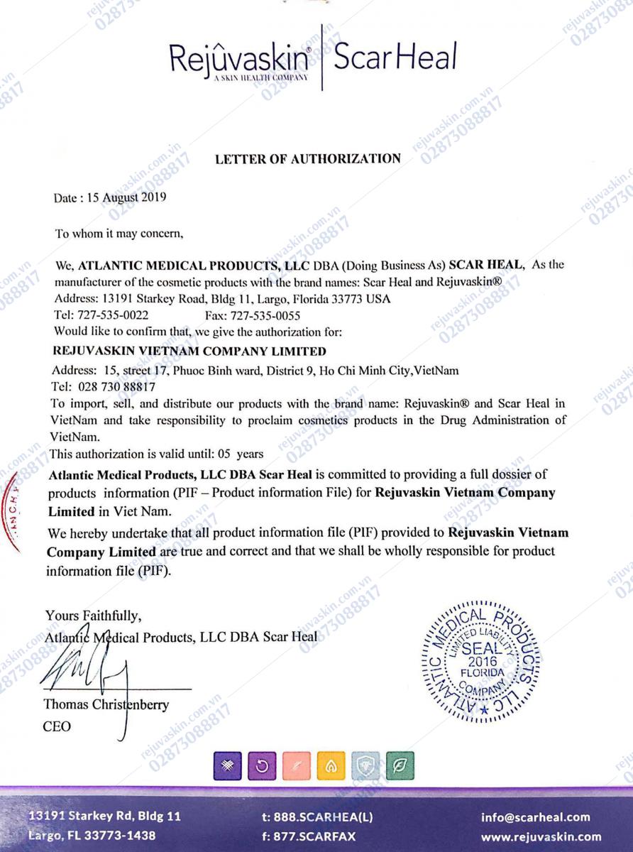 Rejuvaskin Việt Nam là công ty được Rejuvaskin Hoa Kỳ ủy quyền là đại diện chính thức và hợp pháp duy nhất  tại Việt Nam nhập khẩu và phân phối sản phẩm Rejuvaski