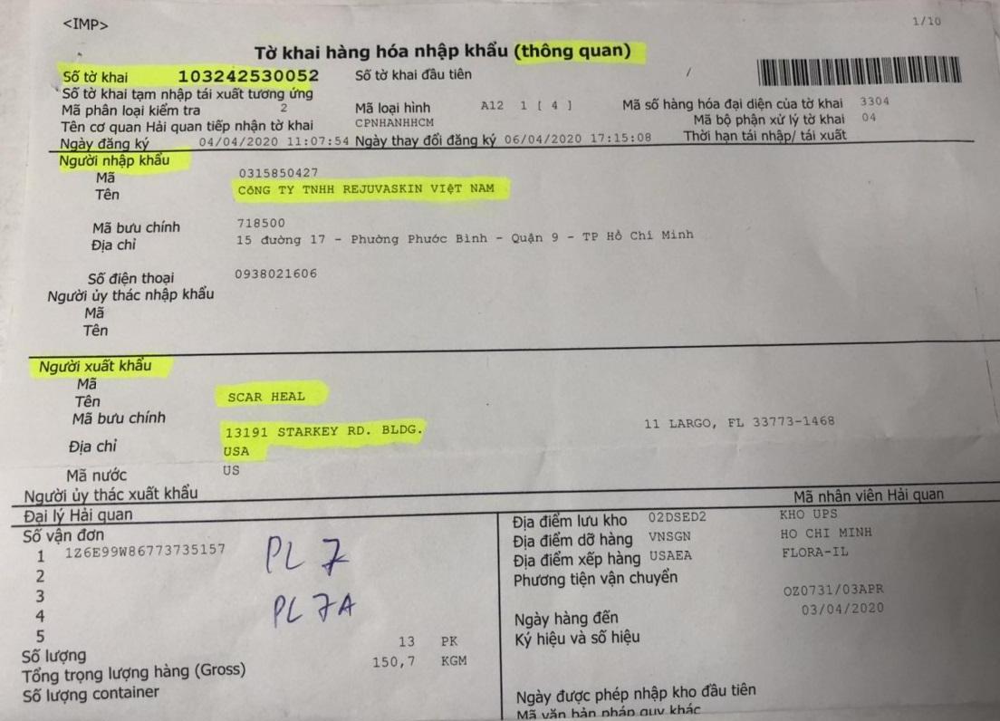 Giấy thông quan khi nhập khẩu hàng từ bên Mỹ của Rejuvaskin Việt Nam