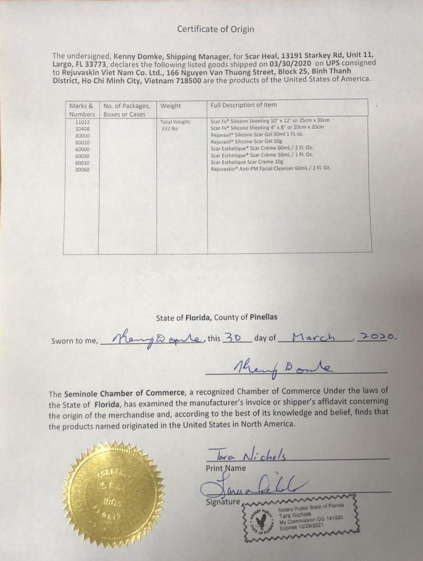 Phiếu nhập hàng từ công ty sản xuất ở Hoa Kỳ của Rejuvaskin Việt Nam
