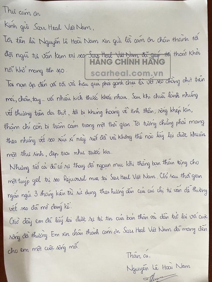 Bức thư tay viết tay đầy xúc động của chàng trai trẻ Nguyễn Lê Hoài Nam